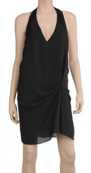 Leon Max Puckered Silk Georgette Draped Dress