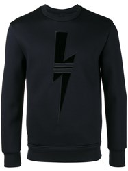 Neil Barrett Sport Bolt Sweatshirt Men Polyurethane Viscose L Blue