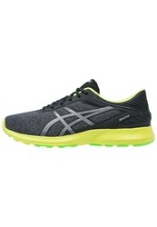 Asics Nitrofuze Neutral Running Shoes Dark Grey Silver Neon Lime