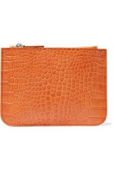 Iris And Ink Blake Croc Effect Leather Pouch Orange