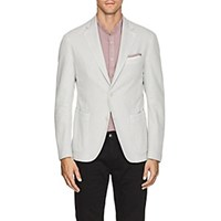 Barneys New York Basket Weave Cotton Linen Two Button Sportcoat Cream