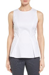 Nordstrom Women's Collection Tonal Stripe Stretch Poplin Peplum Top