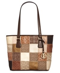 Giani Bernini Patchwork Tote Brown Multi Gold