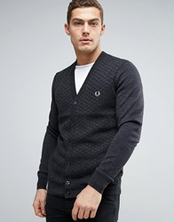 Fred Perry Texture Knit Cardigan Checkerboard In Grey Marl Charcoal Marl