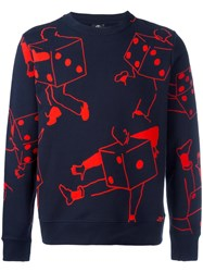 Paul Smith Ps By Dice Print Sweatshirt Blue