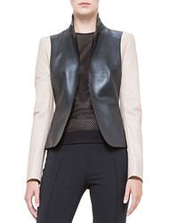 Akris Punto Colorblock Napa Leather Jacket Noir Corde Women's