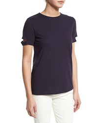 Helmut Lang Petite Split Sleeve Pocket Tee Navy