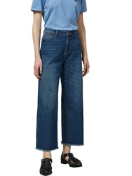 Selected Femme Cropped Wide Leg Jeans Bay Blue