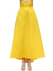 Sara Battaglia High Waist Maxi Duchesse Skirt Yellow