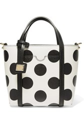 Dolce And Gabbana Dauphine Polka Dot Textured Leather Tote Black