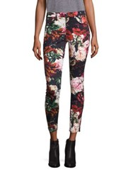 7 For All Mankind Floral Print Ankle Jeans Victorian Garden