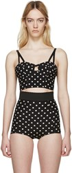 Dolce And Gabbana Black And White Polka Dot Bustier