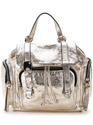Sonia Rykiel By Metallic Grey Flap Backpack Women Calf Leather One Size