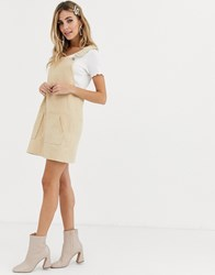 Daisy Street Mini Pinafore Dress With Pockets In Cord Cream
