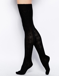 Asos Wool Cable Over The Knee Sock Black