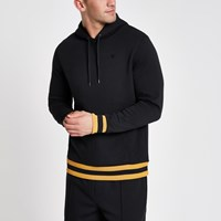 River Island Navy Yellow Stripe Slim Fit Hoodie