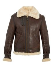 Schott Military B 3 Shearling Lined Leather Jacket Brown