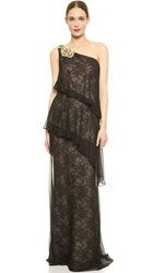 Notte By Marchesa One Shoulder Tiered Gown Black