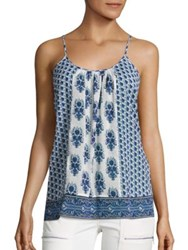 Joie Soft Sparkle C Floral Print Tank Top Porcelain Atlantic Blue