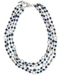 Nine West Silver Tone Multi Row Beaded Statement Necklace Blue