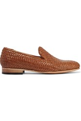 Dieppa Restrepo Leon Woven Leather Slippers Brown