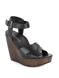 Kenneth Cole Clove Leather And Wood Platform Wedge Sandals Black