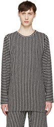 Pyer Moss Ssense Exclusive Black And White Striped Pullover