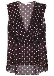 Veronica Beard Elle Polka Dot Silk Chiffon Top Black