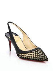 Christian Louboutin Mesh And Patent Leather Slingback Pumps