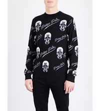 Philipp Plein Skull Print Merino Wool Blend Jumper Black Red