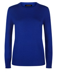 Jaeger Wool Cashmere Zip Cuff Sweater Blue