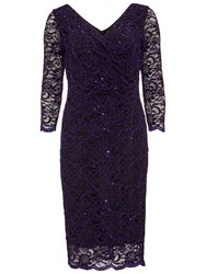 Gina Bacconi Floral Sequin Scallop Dress Aubergine
