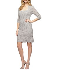 Alex Evenings Petite Sequined Lace Shift Dress Platinum