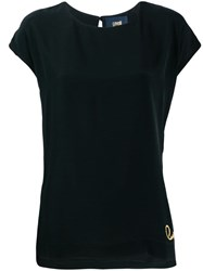 Class Roberto Cavalli Logo Embroidered T Shirt Black