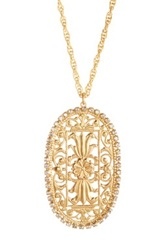 Liz Palacios Crystal Scroll Pendant Necklace No Color