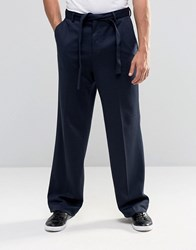 Asos Wide Leg Smart Trousers In Navy Jersey Navy