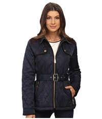 Vince Camuto Belted Quilted Jacket J1611 Navy Women's Coat