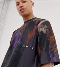 Asos White Tall Oversized T Shirt With Abstract Print In Scuba Navy