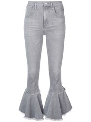 Citizens Of Humanity Cropped Ruffled Jeans Grey