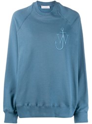 J.W.Anderson Jw Anderson Oversized Anchor Logo Embroidered Sweatshirt Blue