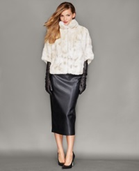 The Fur Vault Rabbit Fur Batwing Sleeve Jacket Pearl