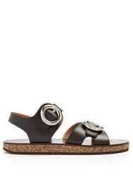 Joseph Oversized Buckle Leather Sandals Black