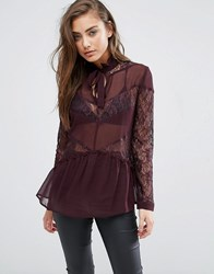 Miss Selfridge Sheer And Lace Mix Blouse Burgundy Purple