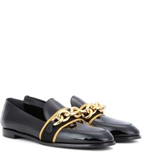 Burberry Embellished Patent Leather Loafers Black