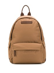 Brunello Cucinelli Logo Zipped Backpack Brown