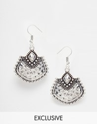 Designsix Etched Drop Earrings Silver