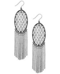 Lucky Brand Silver Tone Patterned Oval Disc Long Fringe Drop Earrings