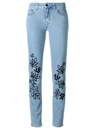 Victoria Beckham Leaves Embroidery Skinny Jeans Blue