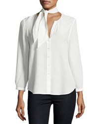 Joie Nile Tie Neck Silk Shirt White