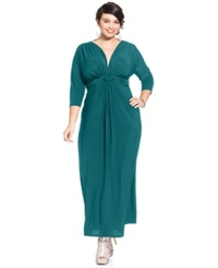 Love Squared Plus Size Three Quarter Sleeve Knotted Maxi Dress Deep Teal